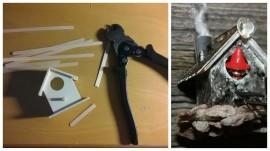 Askartelukaupasta löytynyt pikkuriikkinen linnunpönttö muuttui saunatontun tölliksi.