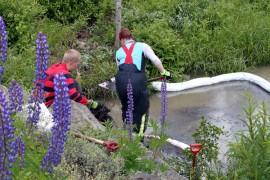 Saara Suolahti ja Mikko Rantala lapioivat turpeeseen imeytettyä polttoöljyä Kroopinojasta Mikolantien sillan alta.