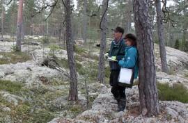 Urpo Numminen ja Marjatta Sihvonen Lyömästenkallioiden jylhissä maisemissa. Molemmat ovat sitä mieltä, että tuulivoiman rakentaminen alueelle tuhoaisi luontoarvot.