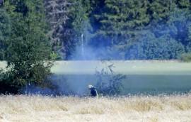Maastoa paloi lauantai-iltapäivällä LIedonperäntien tuntumasa Tarvasjoella. Kuva: Simo Päivärinta.