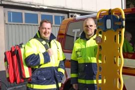 Tarvasjoen ensivaste on varusteita vaille valmis aloittamaan. Sami Hyökki ja Jani Frantti odottelevat vielä muun muassa defibrillaattoria.