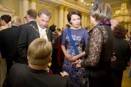 Presidentti Sauli Niinistö ja puolisonsa Jenni Haukio Linnan juhlissa vuonna 2012.