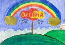 Oripään koululaiset piirsivät värikylläisiä mainoskuvia kotikunnastaan. Lisää kuvia löytyy kunnan Facebook-sivulta.