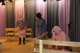 Maija (Pirkko Torkki) ja Liinu (Marja-Liisa Virtanen) ja possu (Aaro Virtanen) pohtimassa sikamaisuuksia.