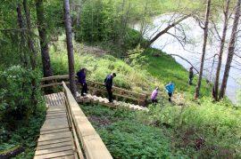 Uusia portaita pitkin Paimionjoelle pääsee aiempaa turvallisemmin ja helpommin.
