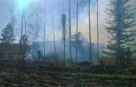 Tulipalo levisi myös noin puolen hehtaarin alueelle maastoon. Kuva: Simo Päivärinta